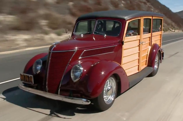 Jay Leno takes a Surfin' Safari in a 1937 Ford Woodie Restomod