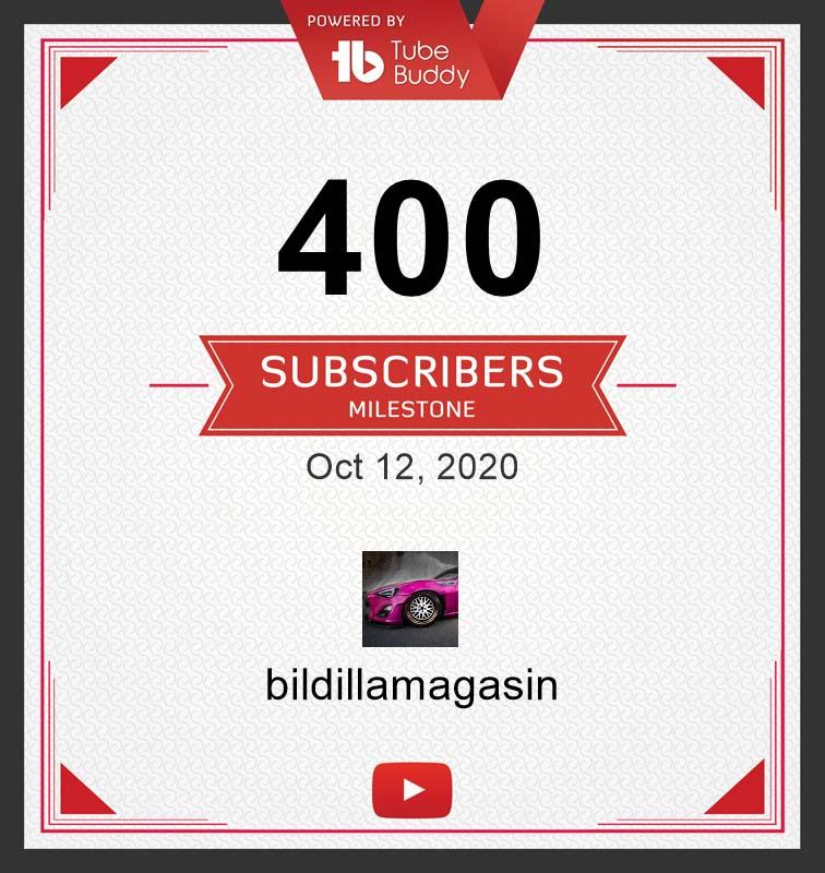400 følgere på YouTube