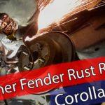 Inner fender rust repair, grinding – part 2
